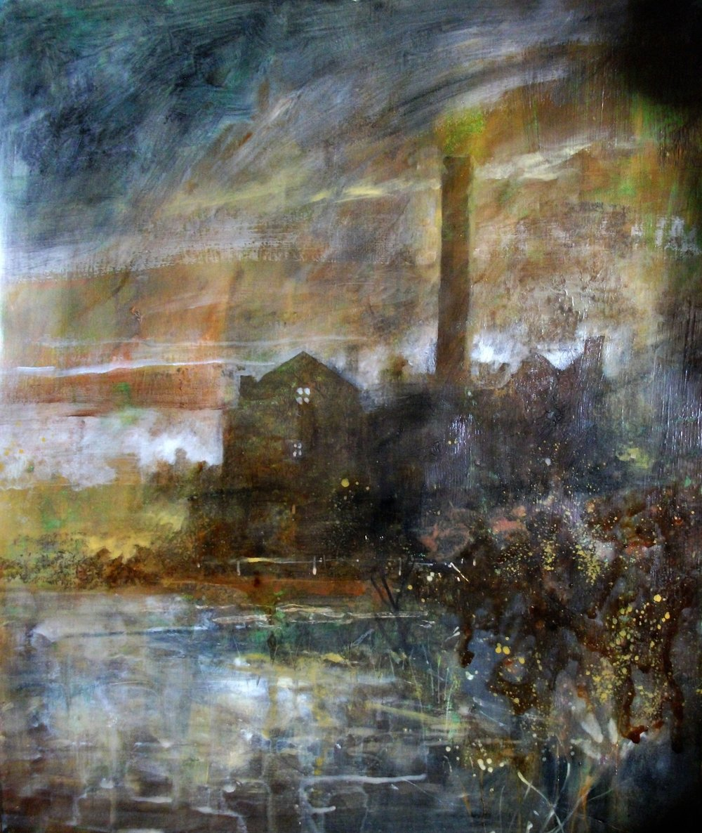 "'Abandoned Mill' ,  Code no. 2850   Acrylics & Mixed Media and Mixed Media on Paper with Oil Glazing, 13"" x 10"""