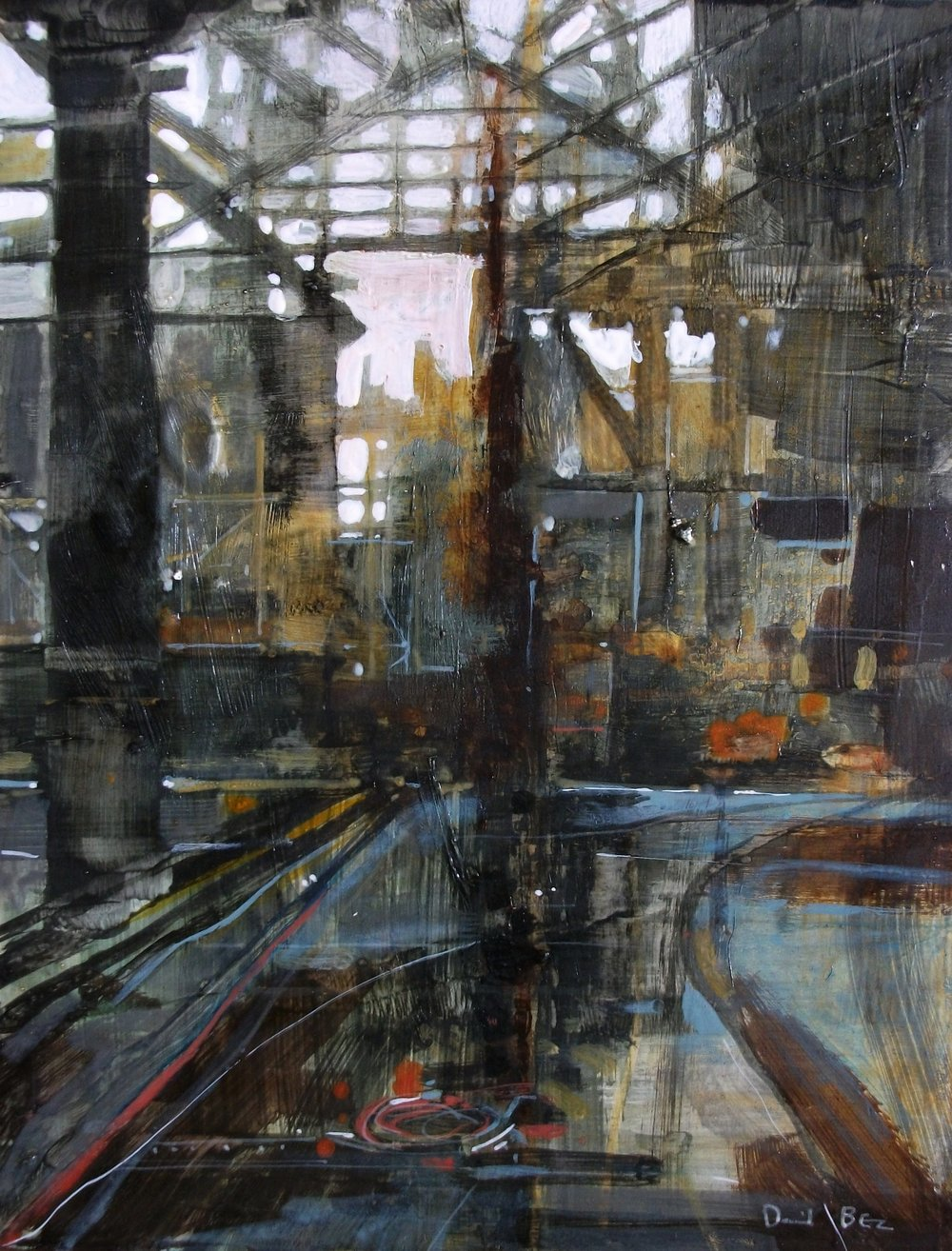"'Abandoned Factory' ,  Code no. 2857   Acrylics & Mixed Media on Paper with Oil Glazing, 19"" x 14"""