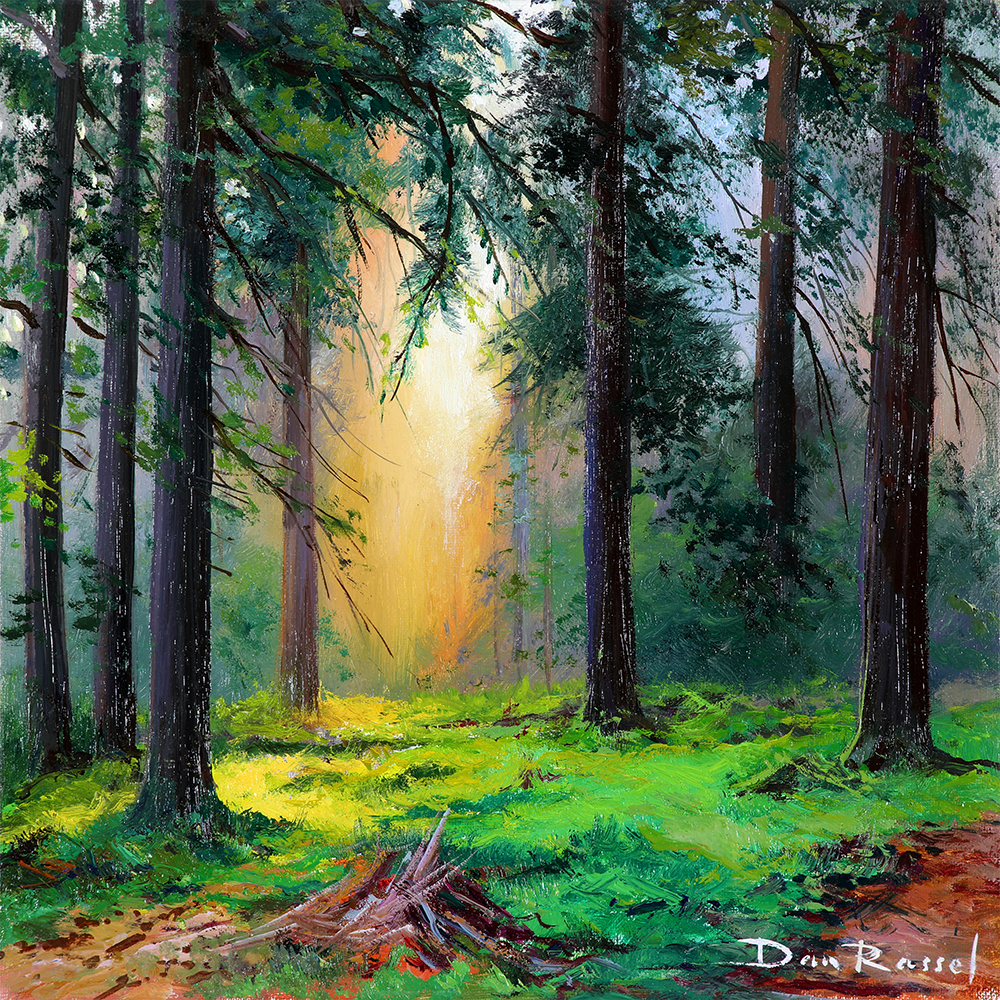 "'Forest Glade'   Limited Edition Giclee Print on Board Mounted Canvas, 12"" x 12"""