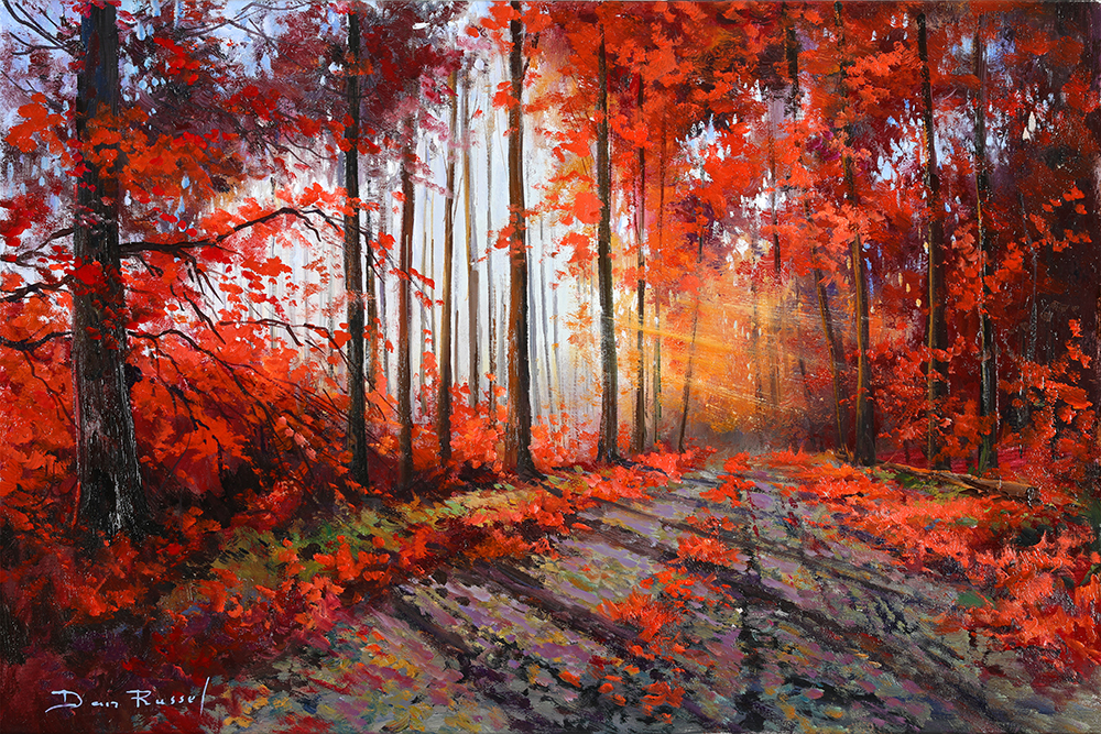 "'Track through the Woods'   Limited Edition Giclee Print on Board Mounted Canvas, 16"" x 20"""