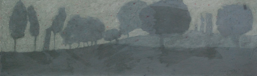 "'Found Amongst the Trees'    Acrylic & Mixed Media on Board, 8"" x 26"""