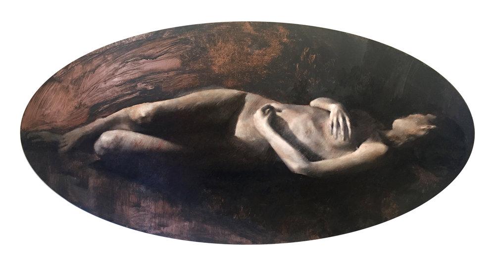 """'Elemental III'    Oil & Pastel on Copper Panel, 18"""" x 35"""""""