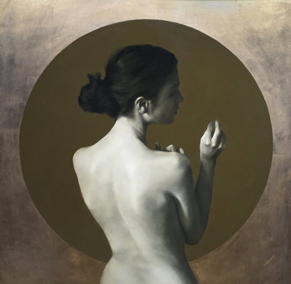 """'The Quiet Before The Draw of Breath VI'    Oil on Panel, 35"""" x 35"""""""