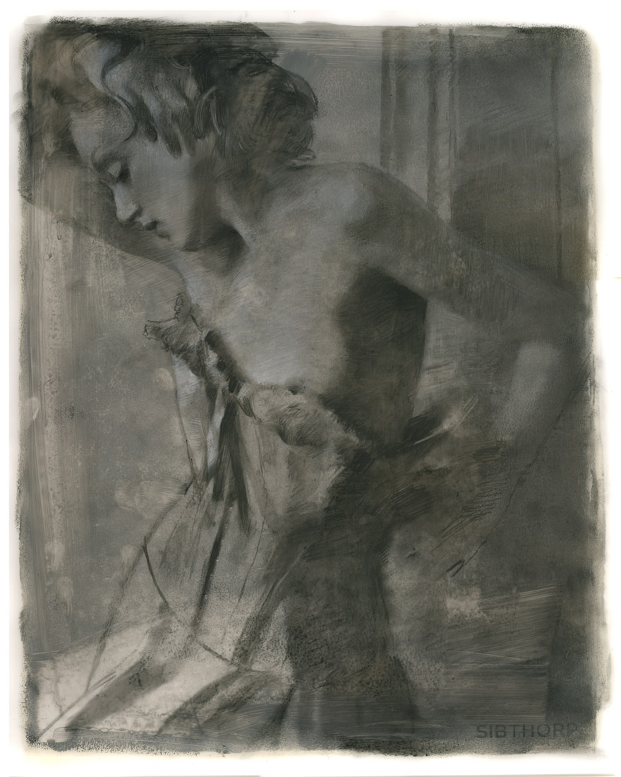 """'In the Light of Darkness'    Oil and Charcoal on Velum, 42"""" x 34"""""""