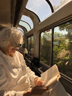 I'm enjoying a good book on The Capitol Limited train to Chicago. From there we took the Southwest Chief to Los Angeles. The Chief follows near the old Santa Fe Trail from Kansas City. You know why the Trail is important if you've read Book I of  The Last Crystal Trilogy.  Book 3 starts on the Santa Fe Chief.