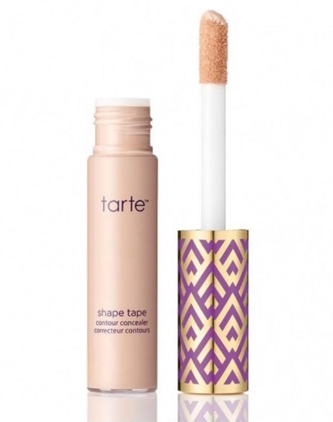 Tarte Shape Tape (Color : Light)  - Apply a small amount under eye. Blend with Beauty Blender under eye and top of cheek bone. Apply from outside corner of eye to outside end of eyebrow to create a cleaner look for your eye shadow.