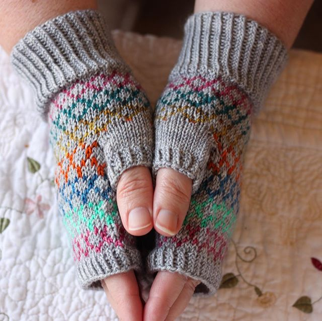 "Also released today is Ginny's Mitts! 💖 It uses #missbabs yummy 2-ply fingering and #nomadicyarns Twisty Sock self-striping sock yarn. It is a fun way to show off your self-striping sock yarns! 💖 Use code ""Ginny"" for 20% off through April 16th. . . . . . #sandracdesigns #ginnysmitts #handknit #knit #knittersgonnaknit #knitting #ravelry #knitters #knitlove #instaknit #knittersofinstagram #knittersofig #knittersoftheworld"