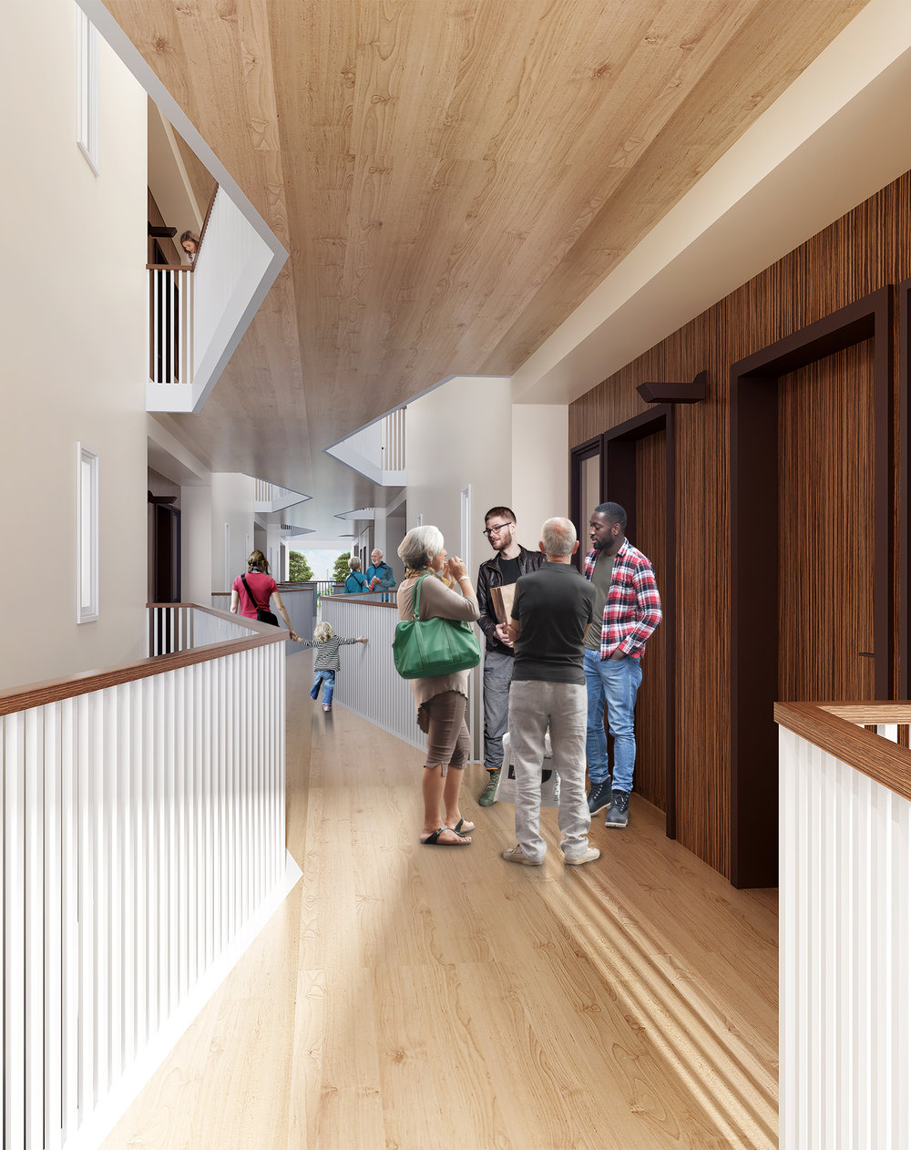 A five-story, light-filled  atrium  where you can greet and gather with your neighbors.