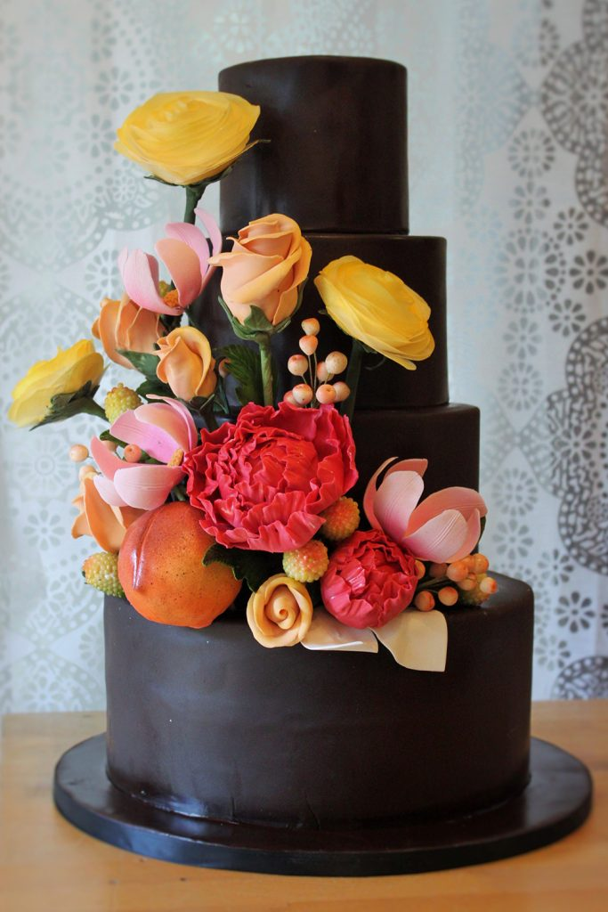 Black with Floral Wedding Cake