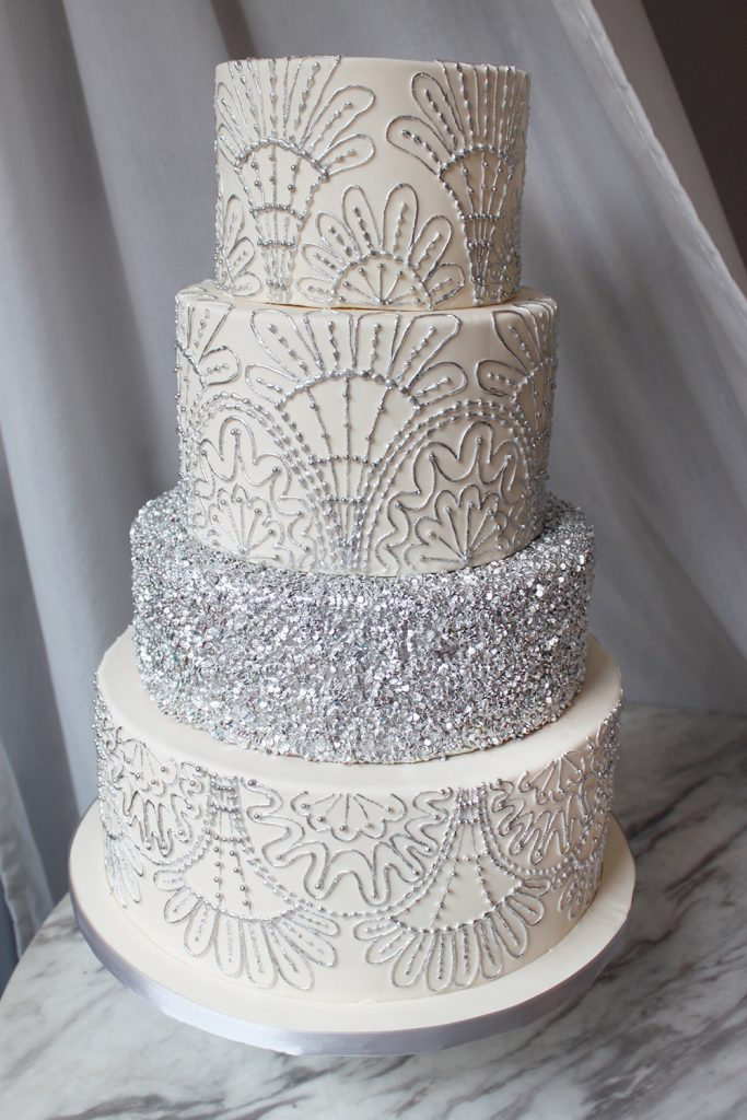 Art Deco Piped Silver Wedding Cake
