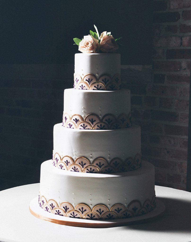 Art Deco Scallop Wedding Cake