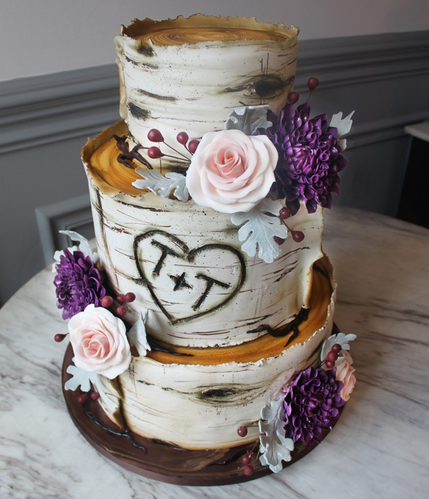 Birch & Rose Wedding Cake