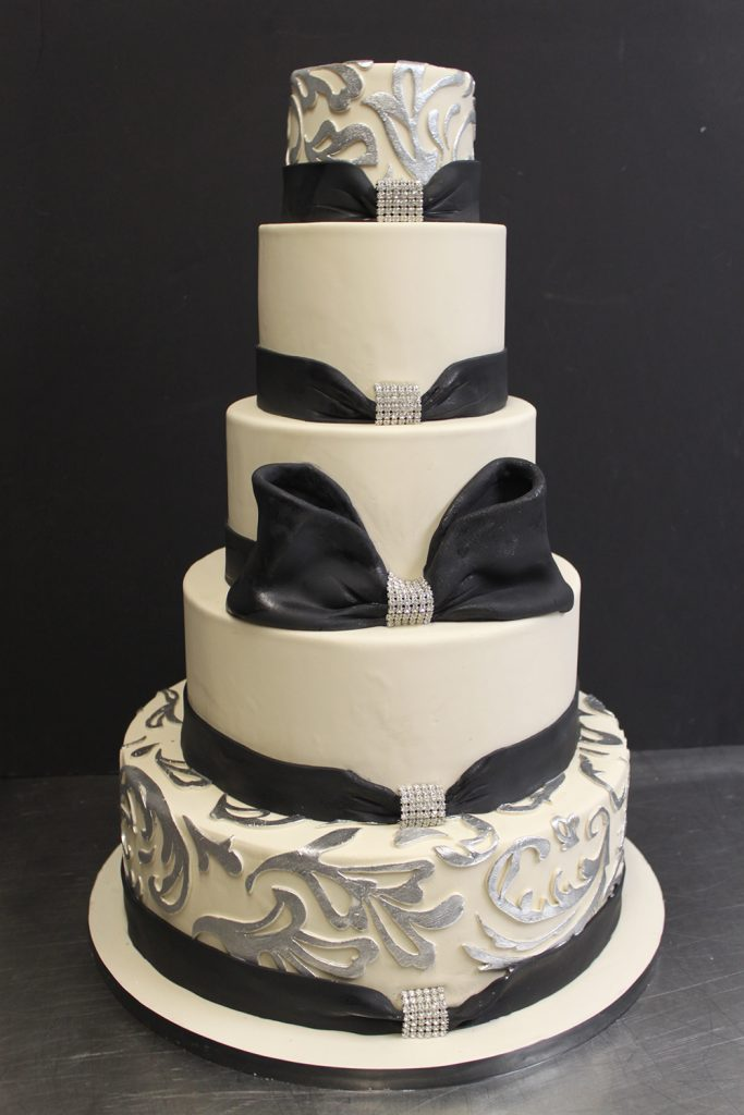 Black Bow & Silver Accents Wedding Cake
