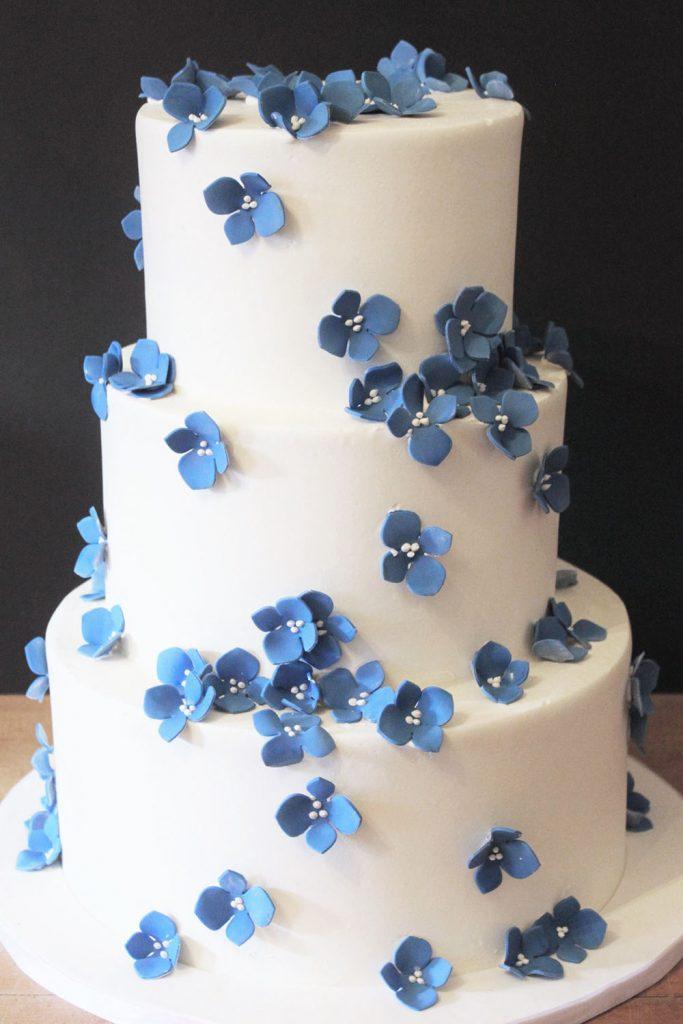Blue Cherry Blossom Wedding Cake