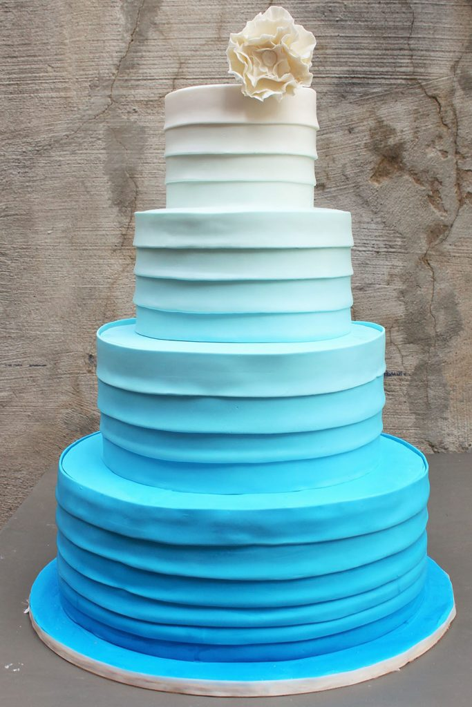 Blue Ombre Bands Wedding Cake