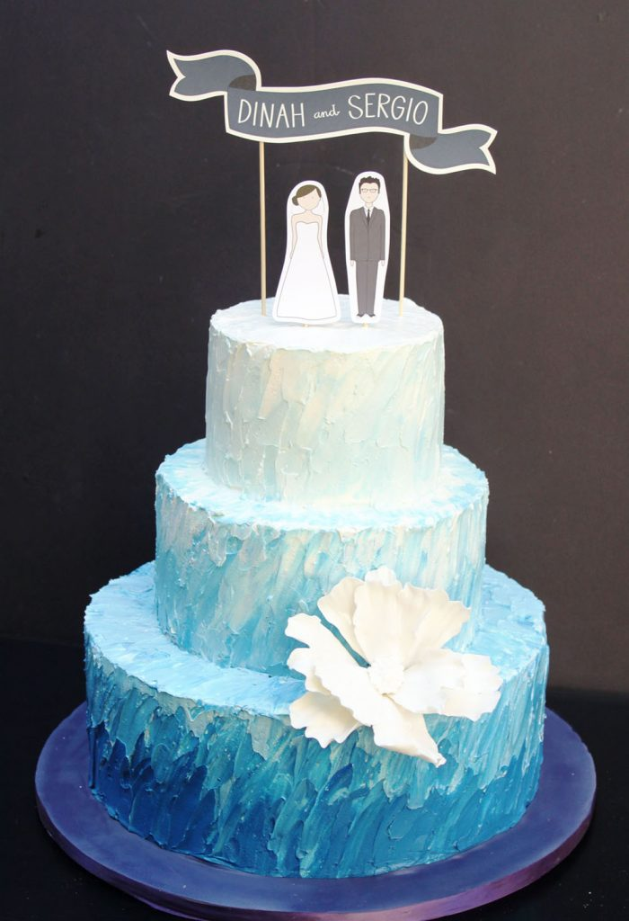 Blue Ombre Textured Wedding Cake