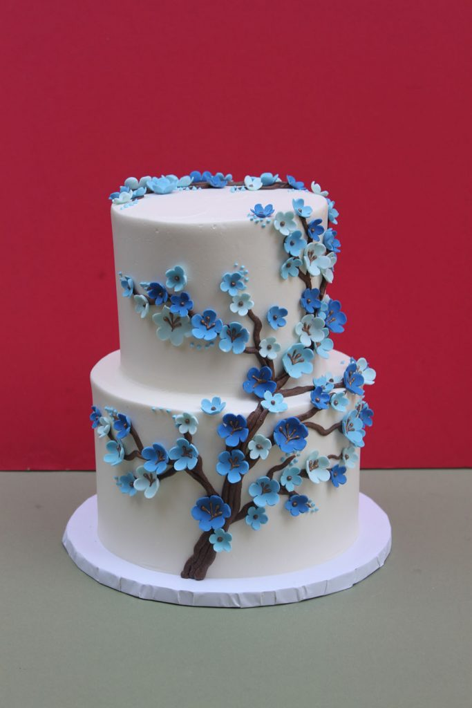 Blue Cherry Blossom Branch Wedding Cake