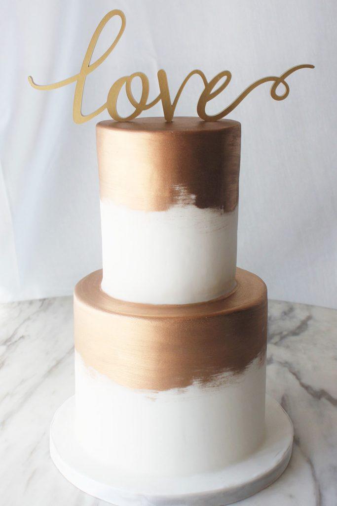 Brushed Copper Wedding Cake