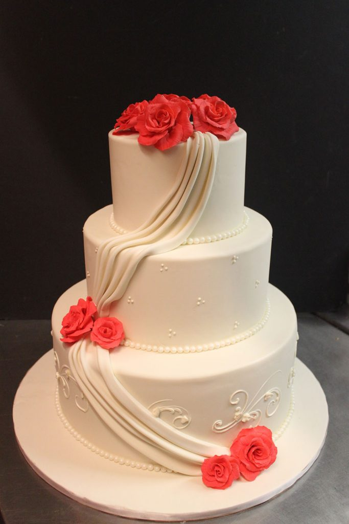 Swag & Roses Wedding Cake