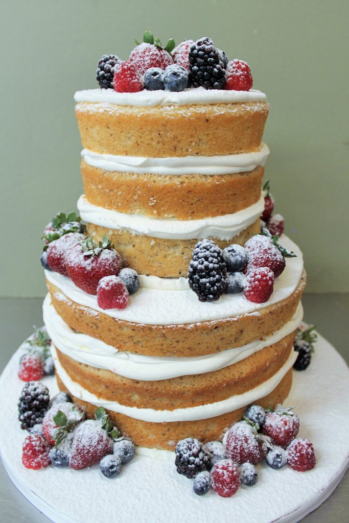 Naked with Berries Wedding Cake