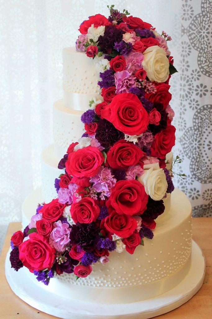Fresh Floral Cascade Wedding Cake