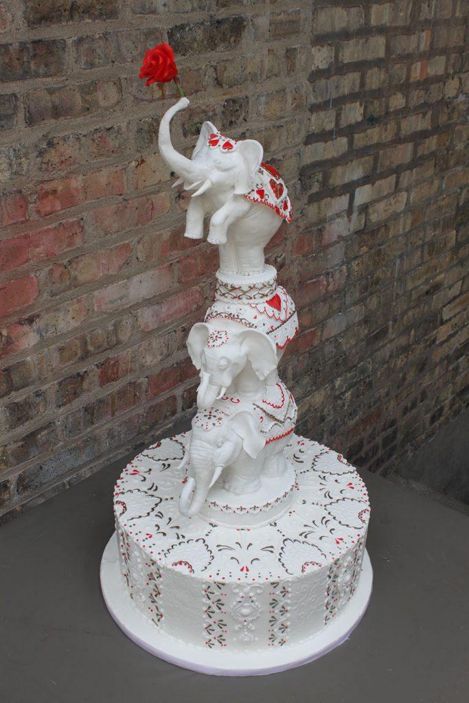 Standing Elephants Wedding Cake