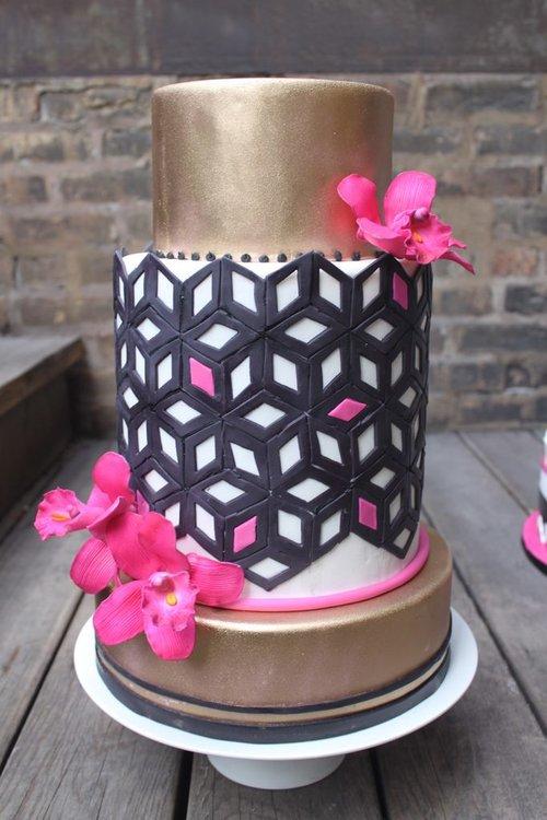 Wedding cakes alliance bakery gold black pink wedding cake mightylinksfo