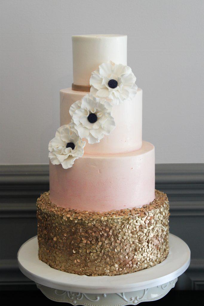Gold Confetti & Anemone Wedding Cake