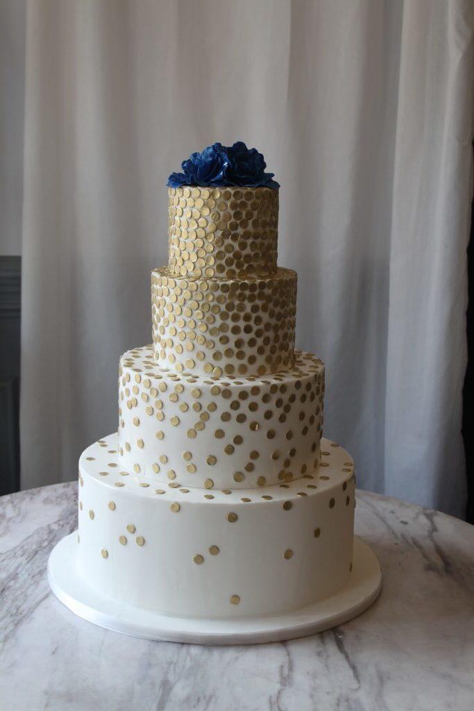 Gold Dot Wedding Cake