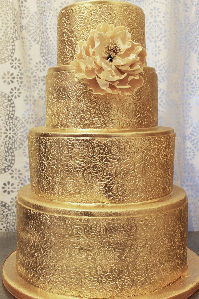 All Gold Wedding Cake