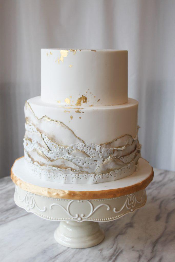 White & Gold Geode Wedding Cake
