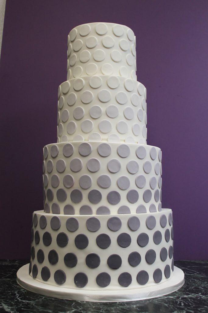 Gray Dot Ombre Wedding Cake