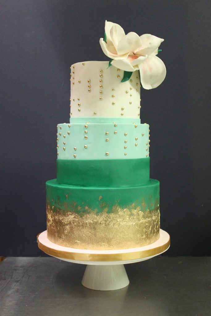 Green & Gold Chic Wedding Cake