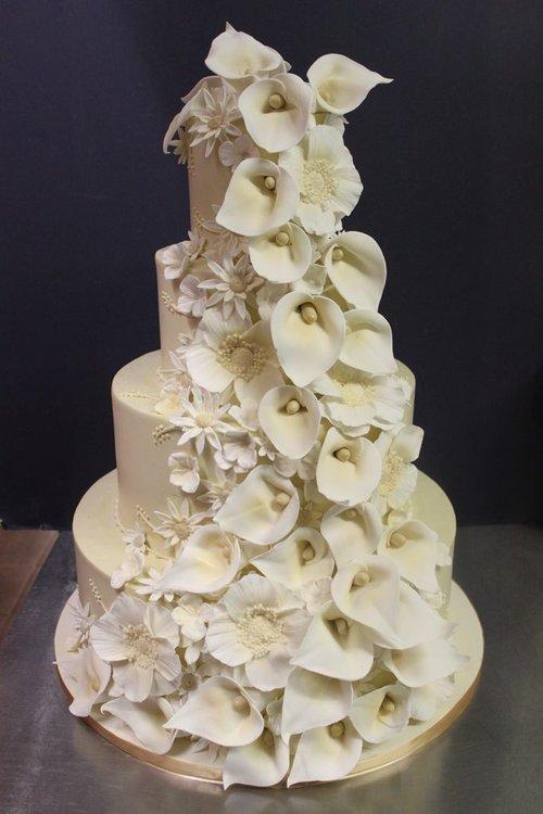 Wedding cakes alliance bakery ivory calla lily cascade wedding cake mightylinksfo