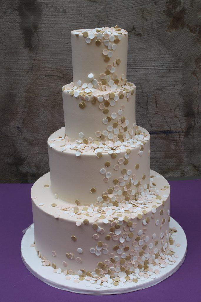 Ivory & Gold Confetti Wedding Cake