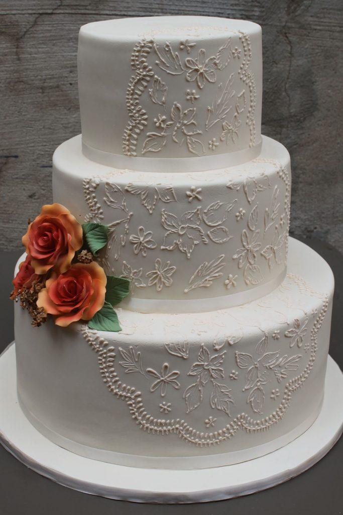 Lace & Orange Roses Wedding Cake