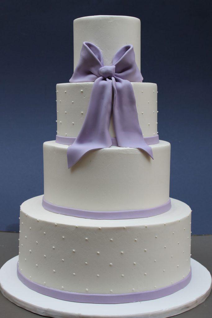 Lavender Bow Wedding Cake