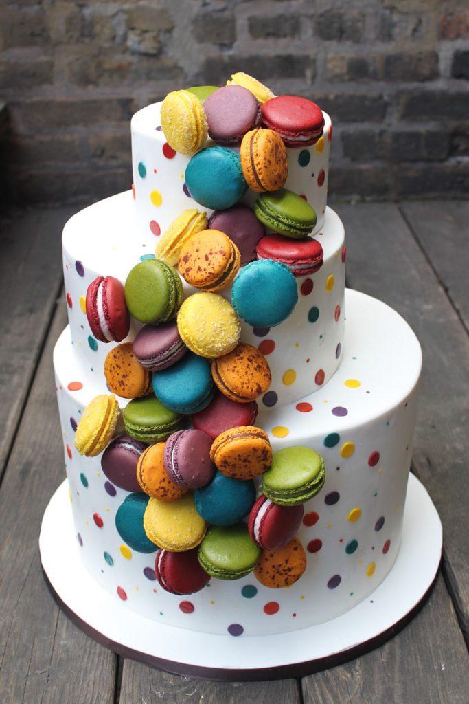 Macaron Cascade Wedding Cake