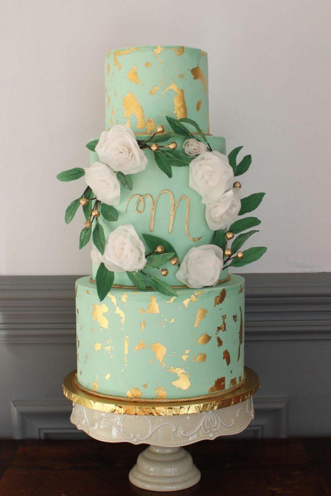 Mint & Gold Flower Border Wedding Cake