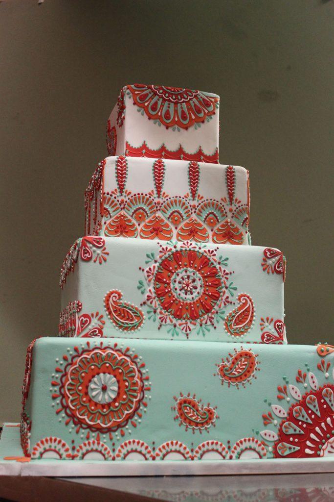 Mint & Orange Paisley Wedding Cake