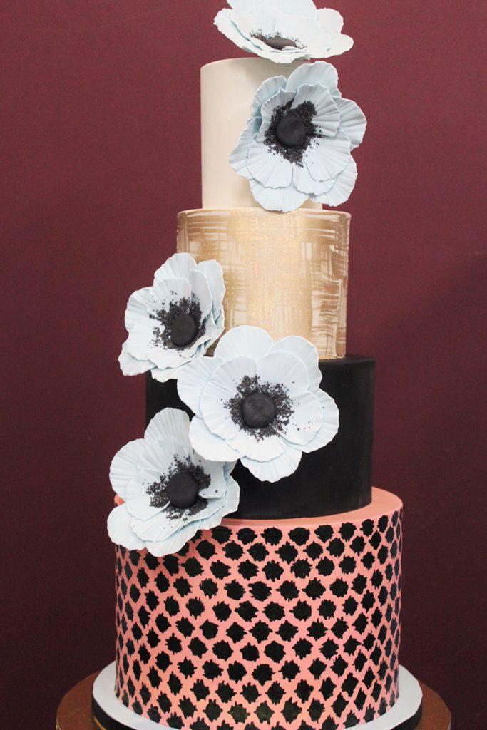 Modern Anemone Wedding Cake