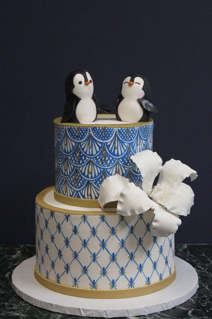 Penguins & China Print Wedding Cake