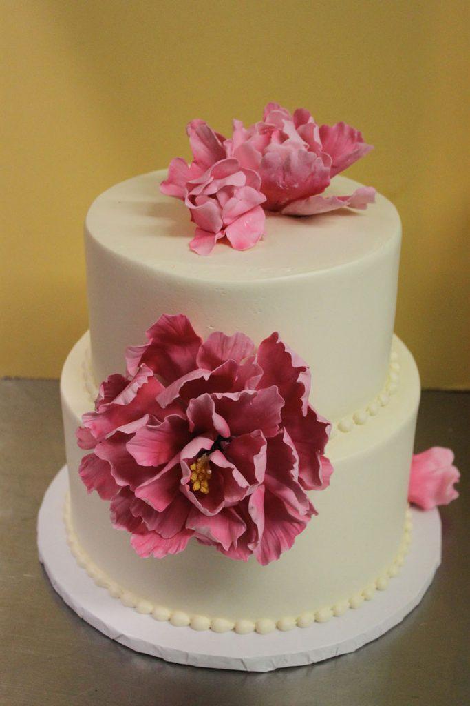 Pink Peonies Wedding Cake
