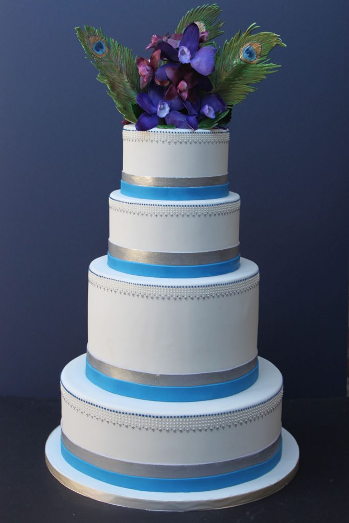 Teal Bands & Peacock Wedding Cake