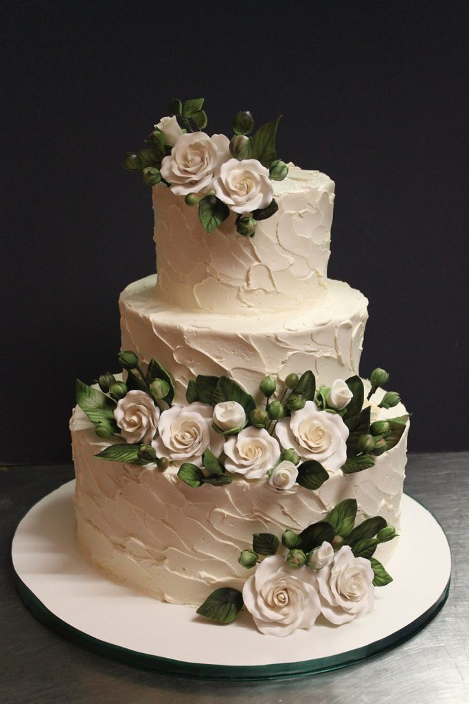 Rustic with White Roses Wedding Cake