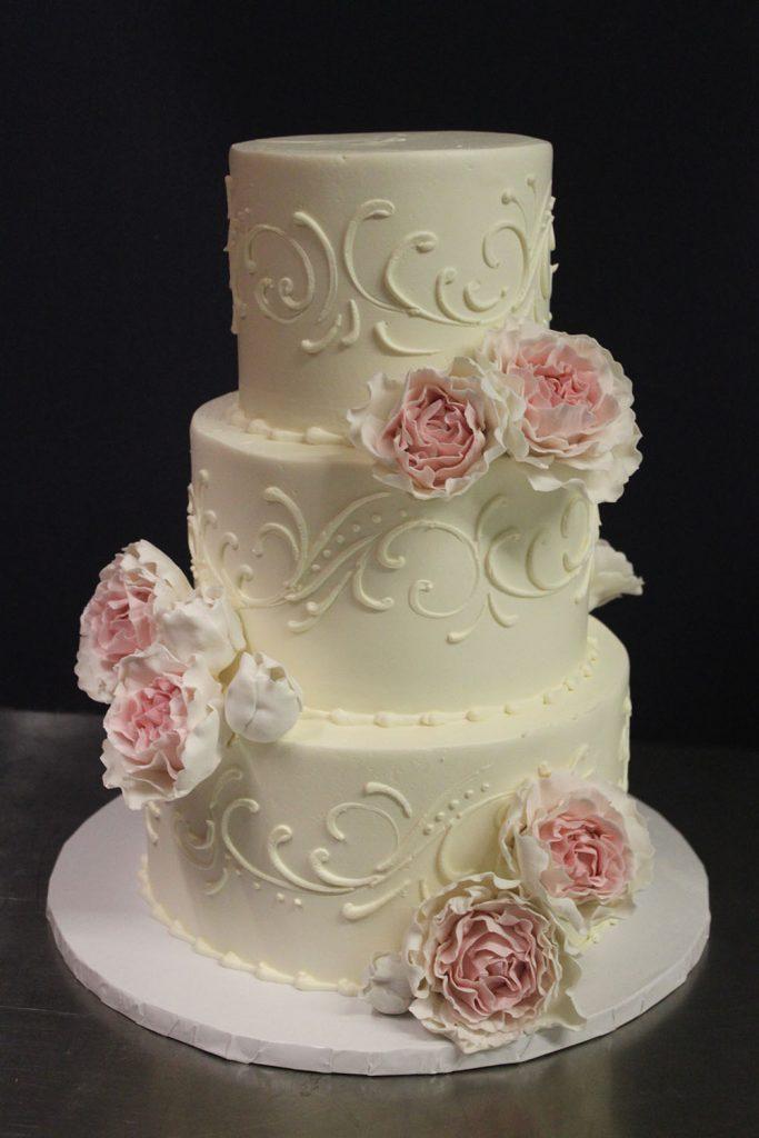 Scroll & Blush Ruffle Flower Wedding Cake