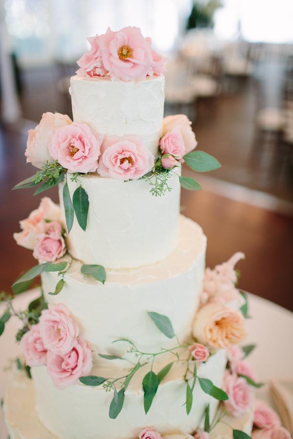 Rustic Blush Rose Wedding Cake