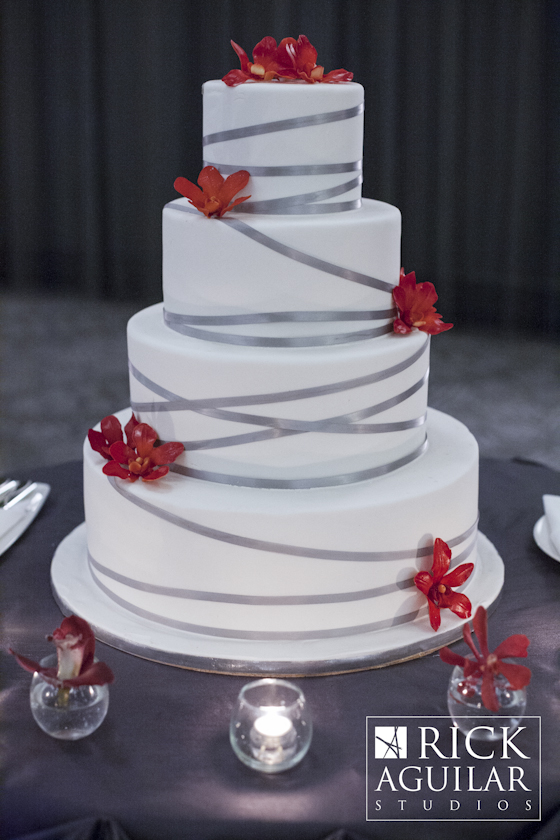 Silver Criss Cross Ribbon Wedding Cake