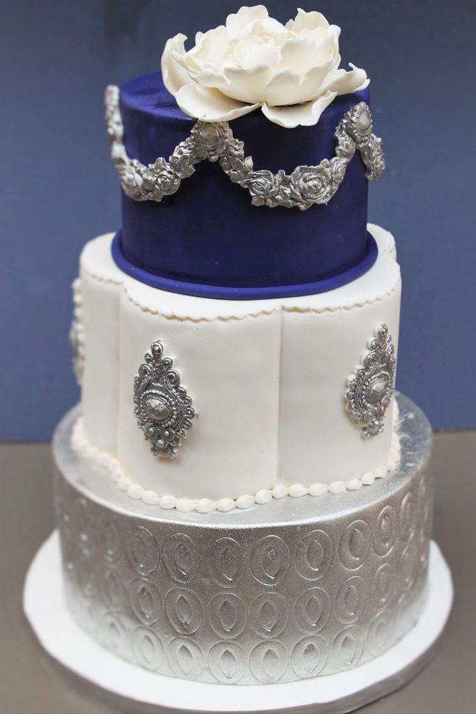 Silver & Eggplant Wedding Cake