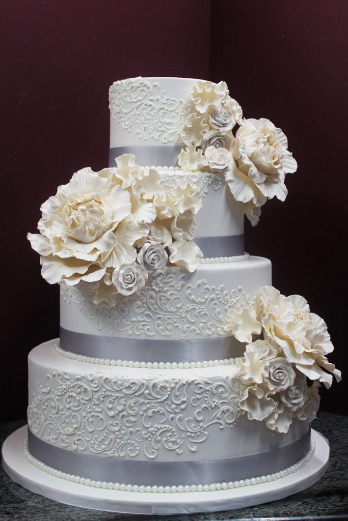 Ivory with Piped Scroll Wedding Cake